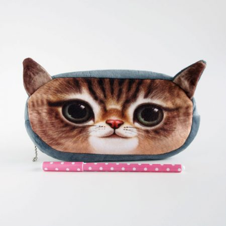 Grey and brown kitty pencil case