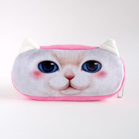 Pink White Kitty Pencil Case
