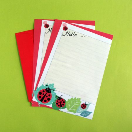 Ladybird letter writing paper and envelope
