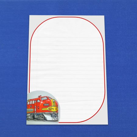 Red Santa Fe Locomotive Letter Writing Paper