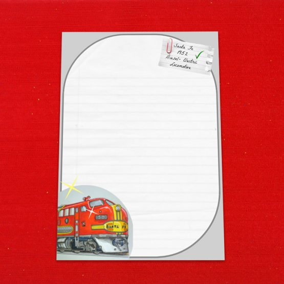 Santa Fe Locomotive Letter Writing Paper