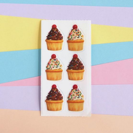 6 Cupcake Stickers