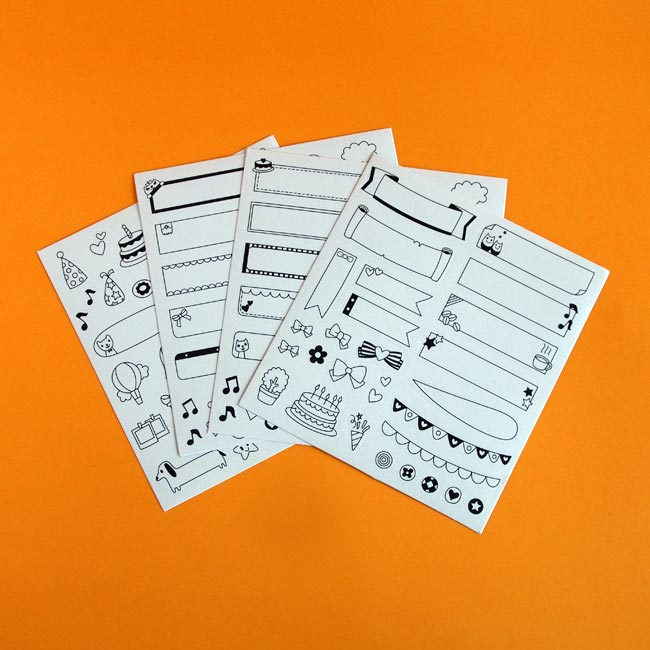 4 Black & White Planner Sticker Sheets