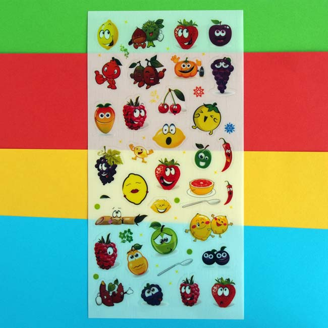 Colourful Funny Face Fruit Sticker Sheet