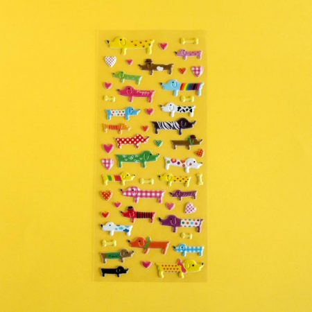 Cute Colourful Puffy Dog Sticker Sheet