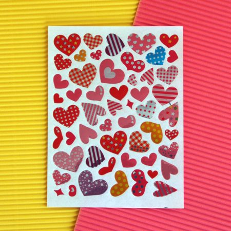 Colourful Shiny Love Heart Sticker Sheet