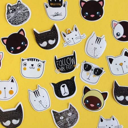 Kawaii Cat Face Stickers