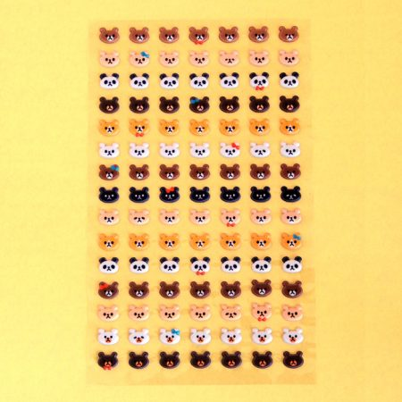 Puffy Bear Heads Sticker Sheet