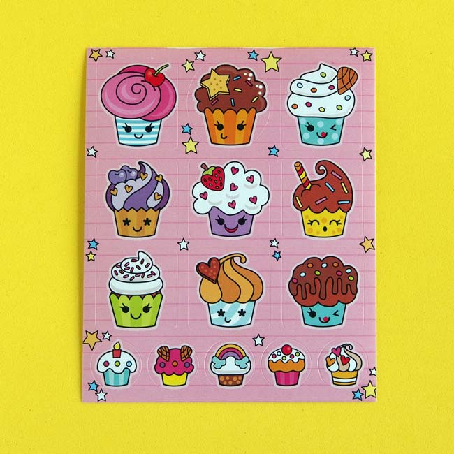 Pastel Cupcake Sticker Sheets