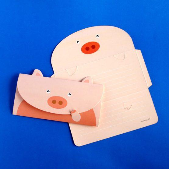 Pink Pig Envelope Postcard