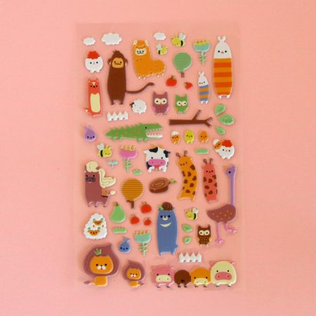 Puffy Farm & Jungle Animal Sticker Sheet