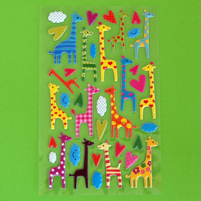 Colourful Puffy Giraffe Sticker Sheet