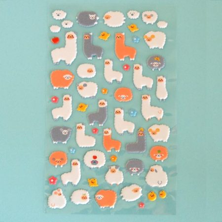 Puffy Llama & Sheep Sticker Sheet