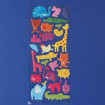 puffy bright animal sticker sheet