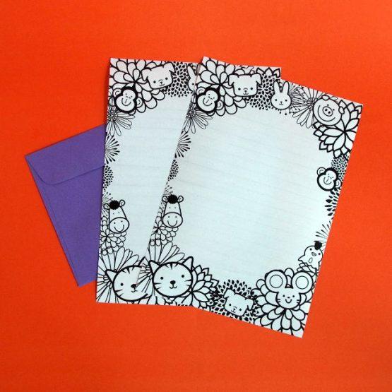 animal colouring writing paper envelope set