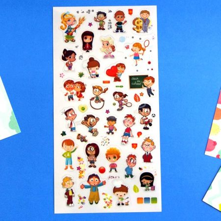 boy girl character sticker sheets
