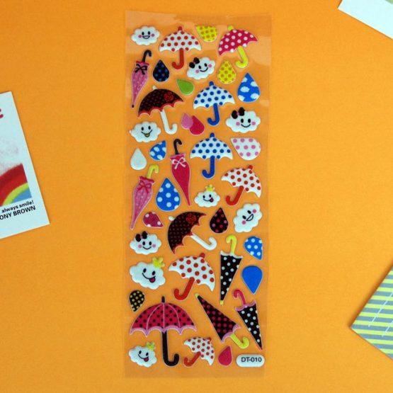 puffy umbrella sticker sheet