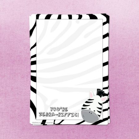Zebra Themed Printable Letter Writing Paper