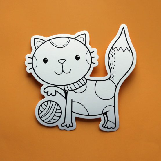 cat yarn colouring postcard