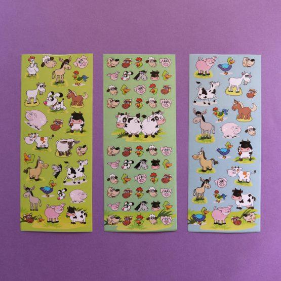 Cartoon Farm Animal Sticker Sheets