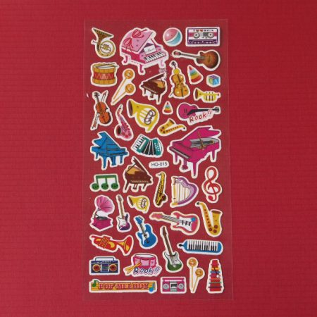 Colourful Musical Instrument Foil Stickers