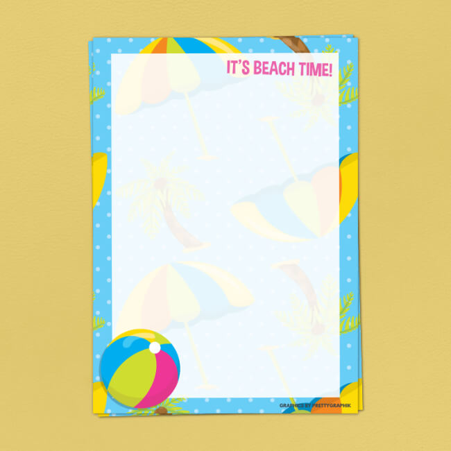 Beach Ball Writing Paper