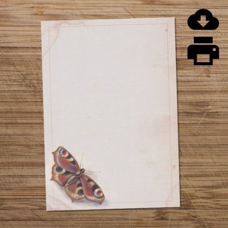Red & blue butterfly printable writing paper