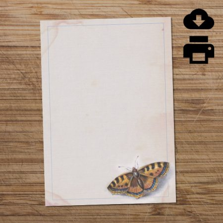 Yellow & blue printable butterfly writing paper