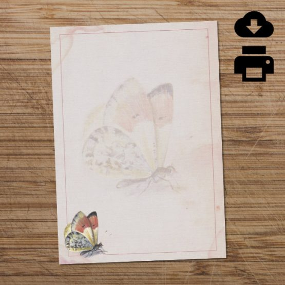Orange & yellow printable butterfly writing paper