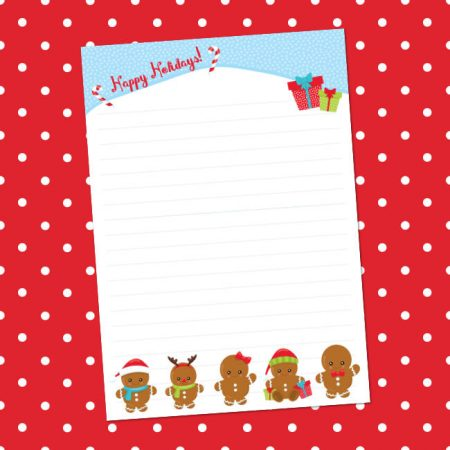 Christmas gingerbread men writing paper