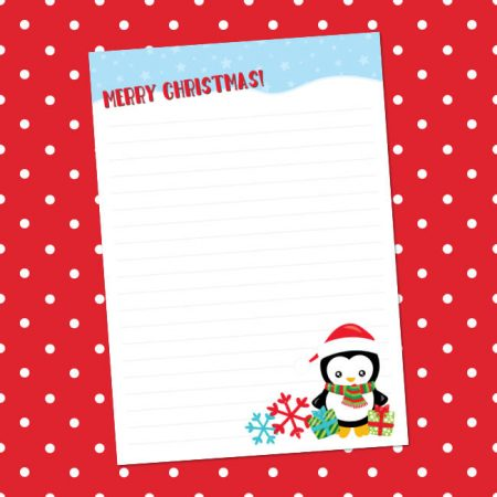 Christmas penguin letter writing paper