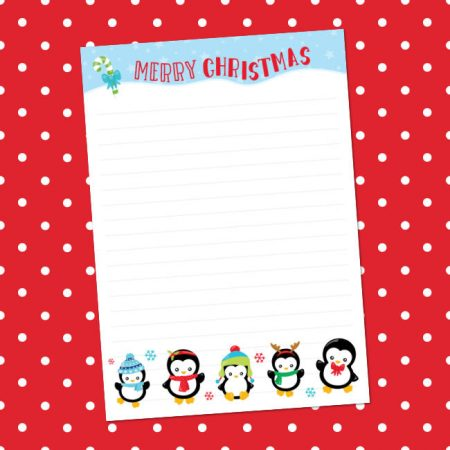 Christmas penguins writing paper