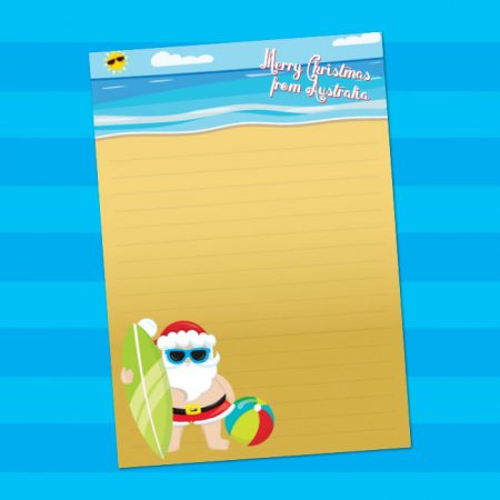 Surfing Australian Santa writing paper
