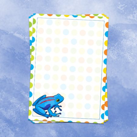 Blue Watercolour Frog Writing Paper