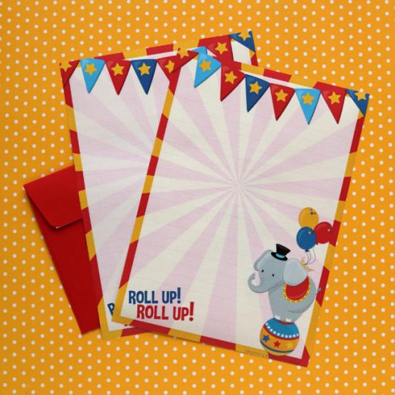 circus themed letter writing paper