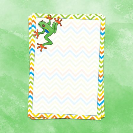 Green Water Colour Frog Letter Writing Paper
