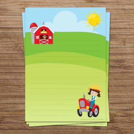 Farm Girl Digital Writing Paper
