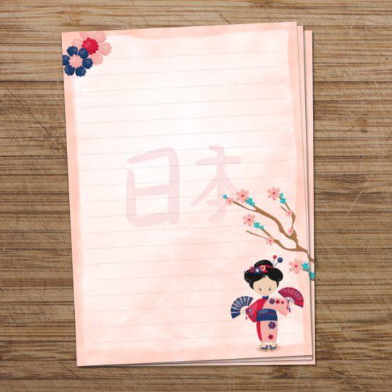 Pink geisha digital writing paper