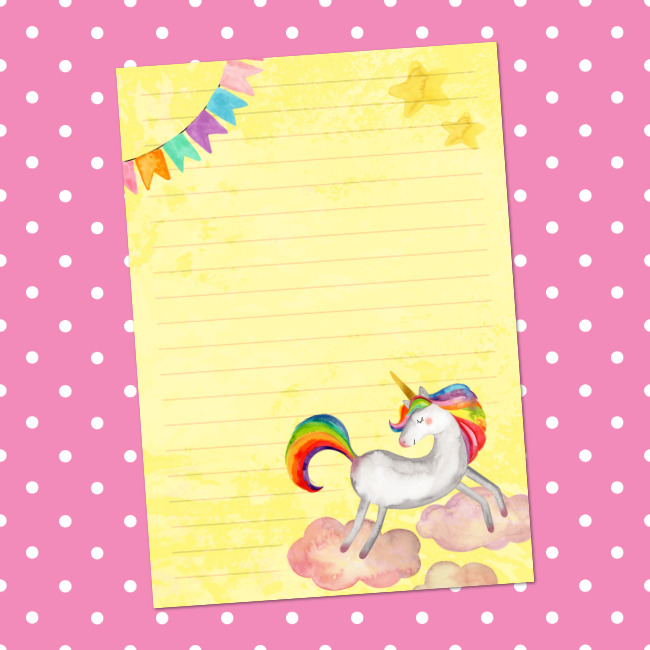 Printable Rainbow Unicorn Letter Writing Paper