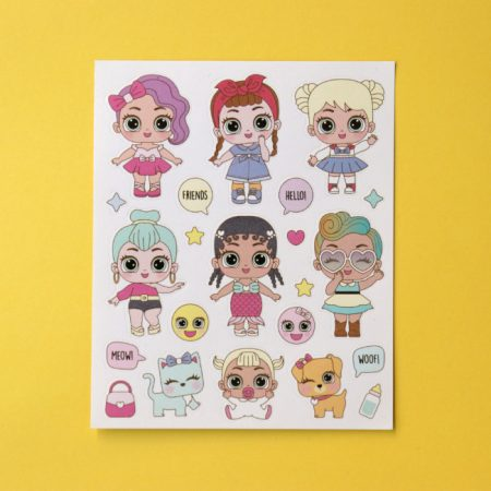 Cartoon baby doll sticker sheet