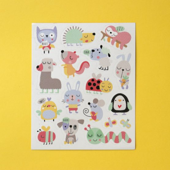 Cute pastel animal and bug stickers