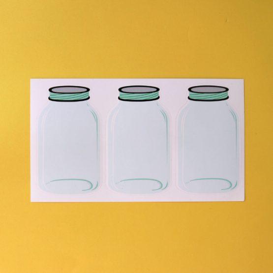 3 glass jars sticker sheet