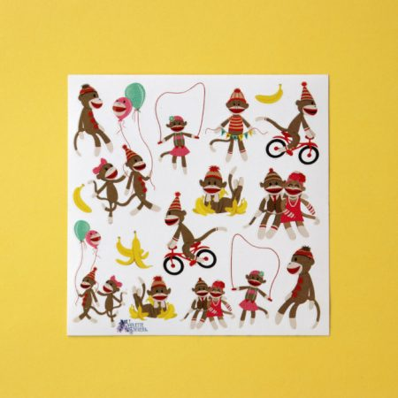 Monkey sock puppet sticker sheet