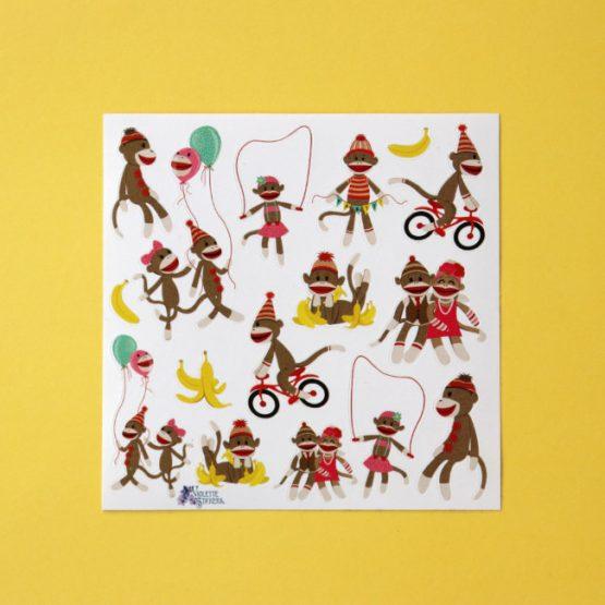 Monkey sock puppet sticker sheet