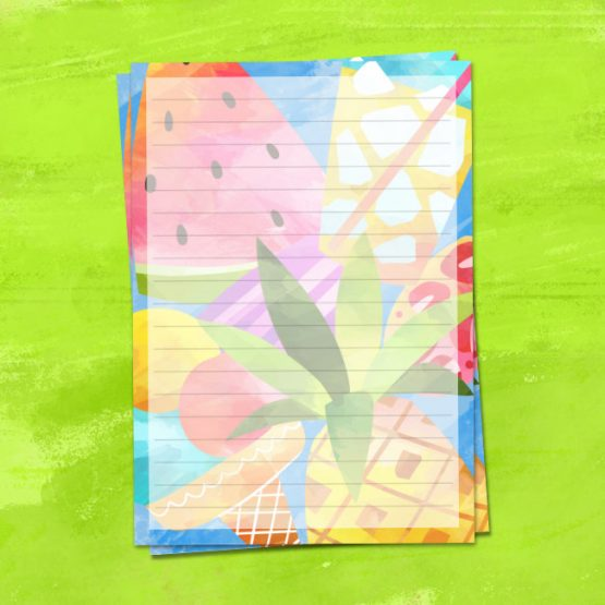 Summer Treats letter writing paper