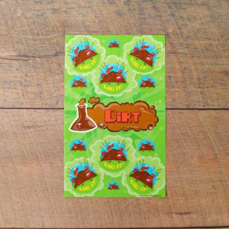 Fresh dirt scented scratch and sniff stickers