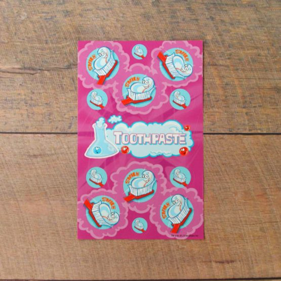 Mint toothpaste scented scratch and sniff stickers